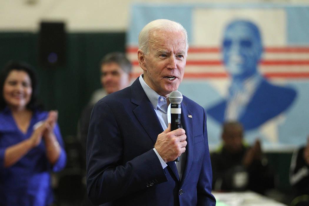 Democratic Presidential Candidate Joe Biden speaks to campaign organizers and volunteers during ...