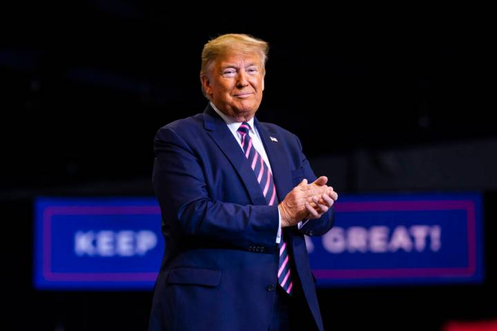 President Donald Trump speaks during a rally at the Las Vegas Convention Center in Las Vegas on ...