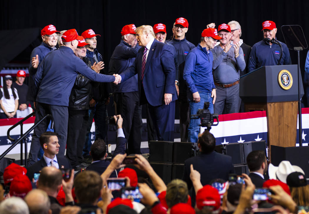 """President Donald Trump welcomes members of the 1980 """"Miracle on Ice"""" U.S. hockey team ..."""