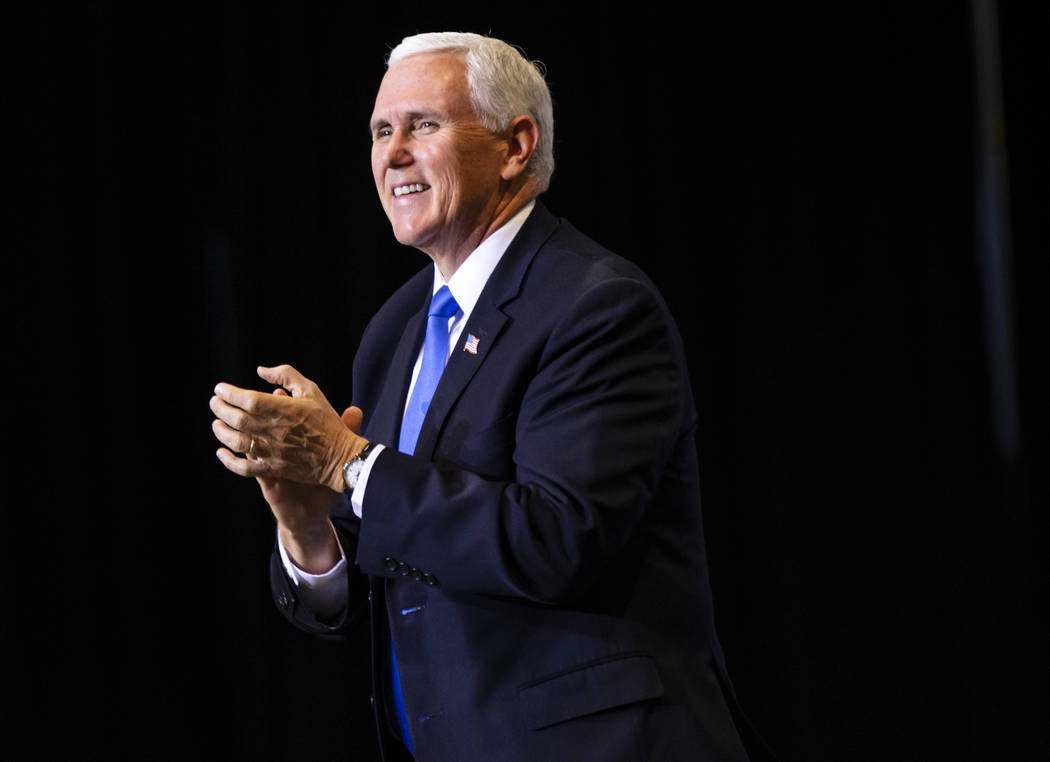 Vice President Mike Pence arrives for a rally for President Donald Trump, not pictured, at the ...