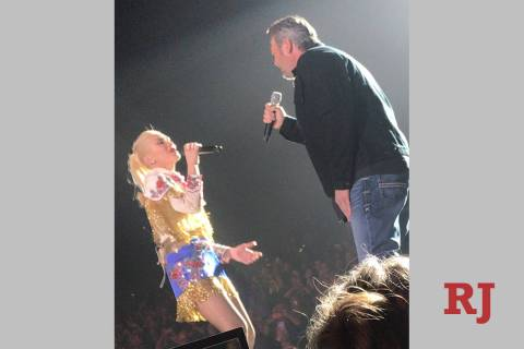 "Gwen Stefani and Blake Shelton are shown singing ""Nobody But You"" at Zappos Theater at Planet H ..."