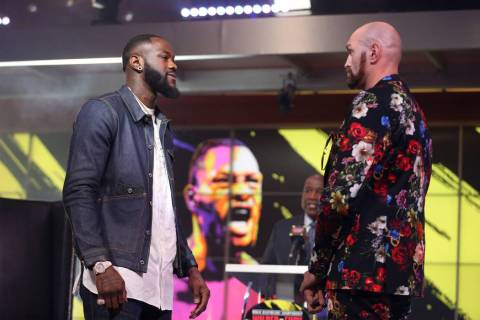 "Deontay ""The Bronze Bomber"" Wilder, left, and Tyson ""The Gypsy King"" Fury, ..."