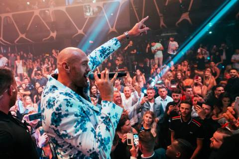 Tyson Fury addresses the crowd at Hakkasan Nightclub at MGM Grand on Saturday, June 15, 2019 (W ...