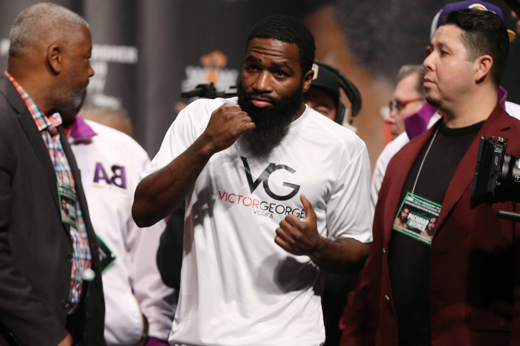 Adrien Broner during his weigh-in at the MGM Grand Garden Arena in Las Vegas, Friday, Jan. 18, ...