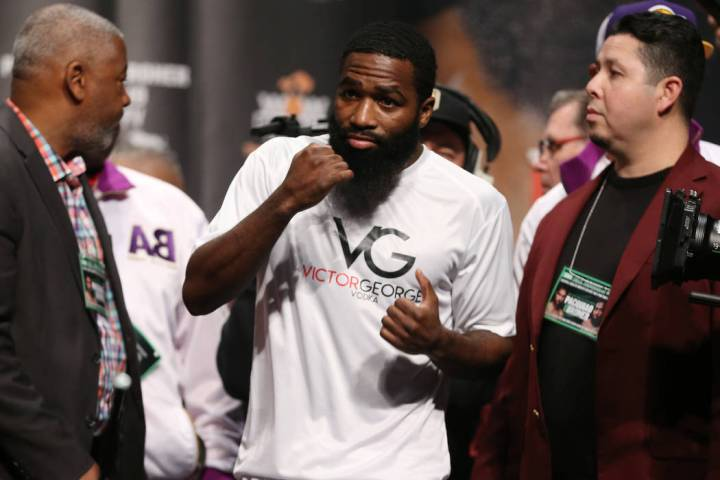 Adrien Broner during his weigh-in at the MGM Grand Garden in Las Vegas, Friday, Jan. 18, 2019. ...