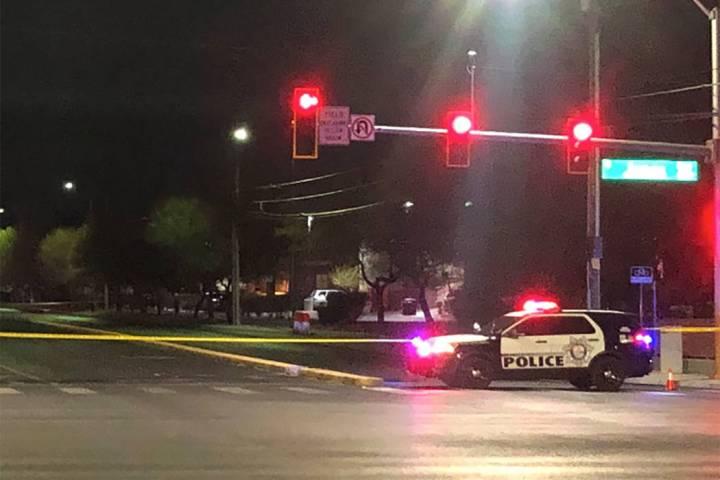 Police investigate a crime scene in the 6100 block of West Oakey Boulevard in Las Vegas on Frid ...