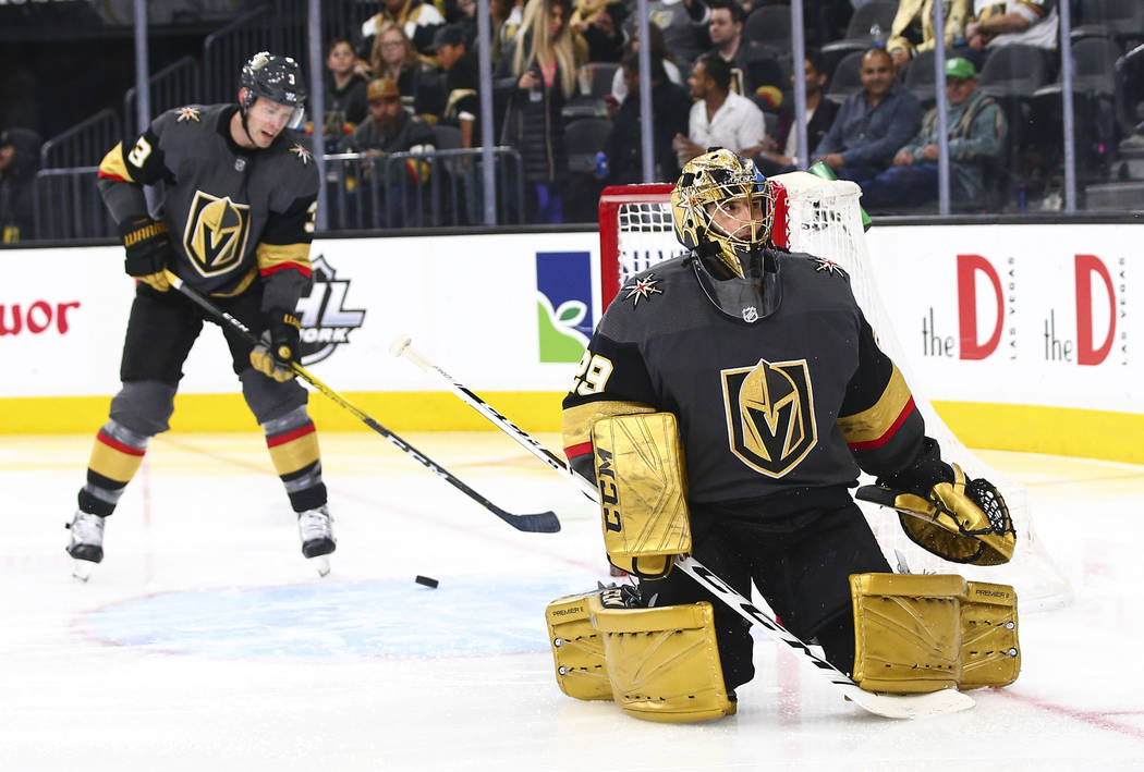Golden Knights goaltender Marc-Andre Fleury (29) reacts after getting scored on by the Florida ...