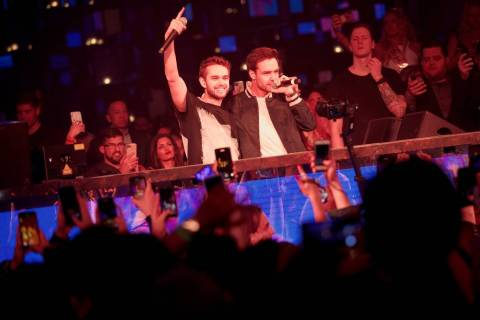 "Zedd and Liam Payne perform their single ""Get Low"" at Omnia Nightclub at Caesars Palace on ..."