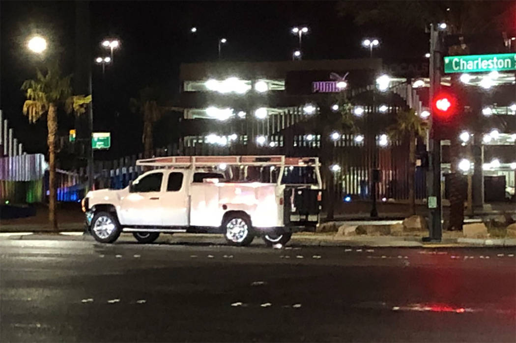 Las Vegas police investigate a fatal crash at Charleston Boulevard and Grand Central Parkway on ...