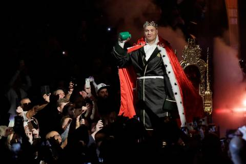 Tyson Fury, of England, arrives in the arena before a WBC heavyweight championship boxing match ...
