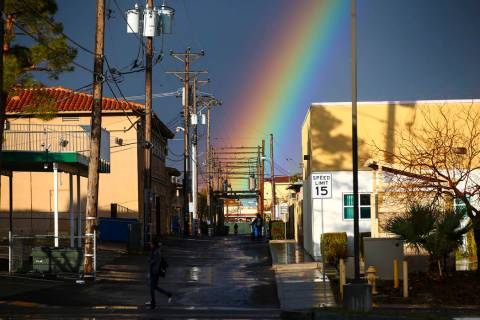A rainbow above Maryland Parkway after rain in downtown Las Vegas on Saturday, Feb. 22, 2020. ( ...