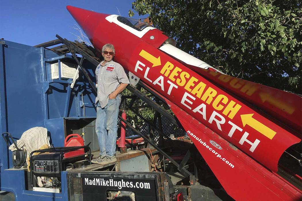 Daredevil/limousine driver Mad Mike Hughes is shown with with his steam=powered rocket construc ...