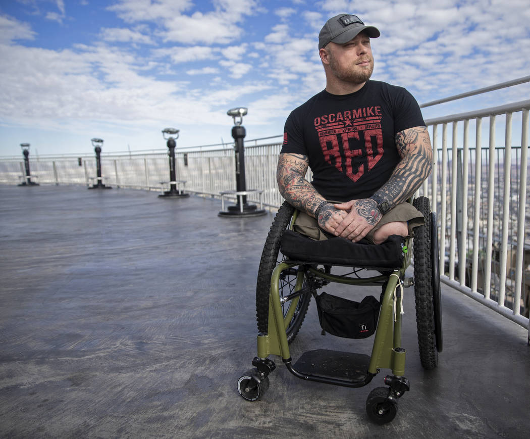 Travis Strong, an Army veteran who lost both legs during an attack in Baghdad, climbed 108 floo ...