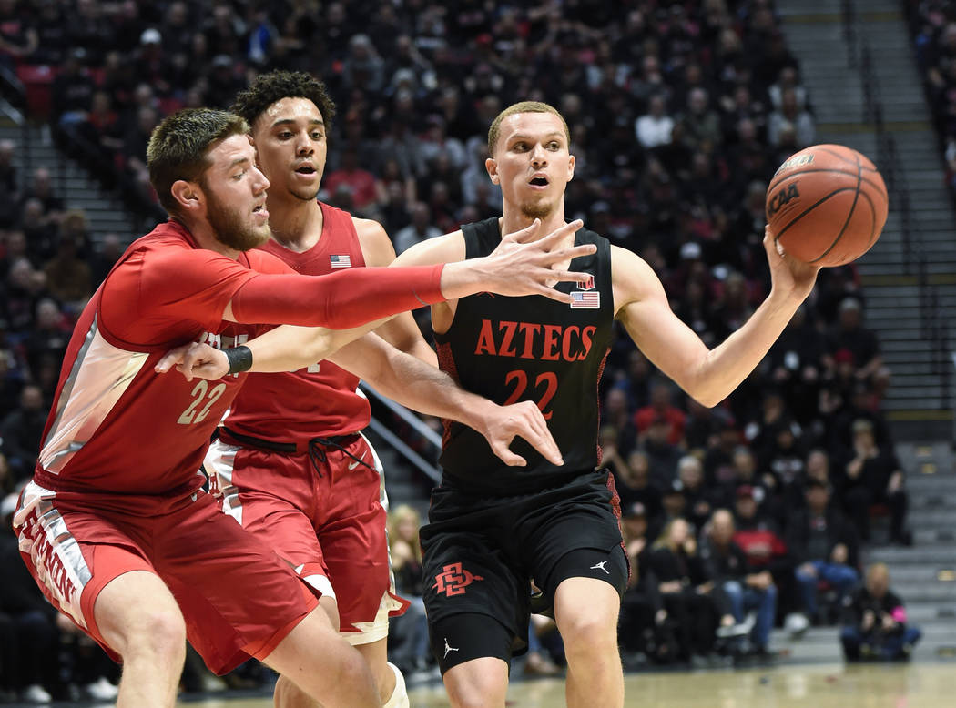 San Diego State guard Malachi Flynn (22) passes in front of UNLV forward Vitaliy Shibel (22) du ...