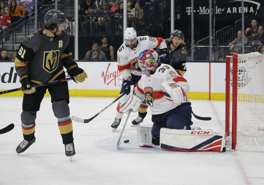 Florida Panthers goaltender Sam Montembeault (33) blocks the puck during the second period of t ...