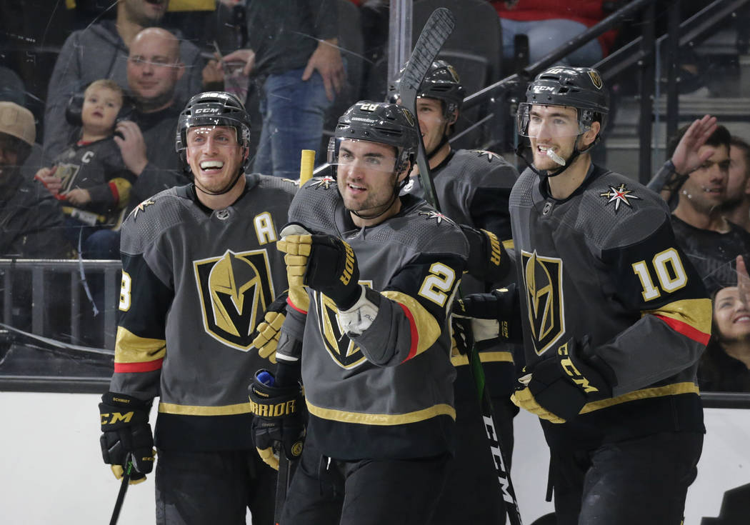 Vegas Golden Knights left wing William Carrier (28) celebrates after scoring a goal against the ...