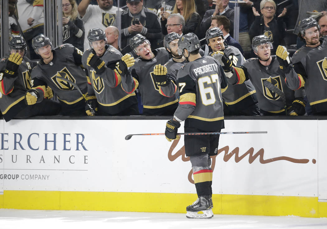 Vegas Golden Knights left wing Max Pacioretty (67) skates to the bench after scoring a goal in ...