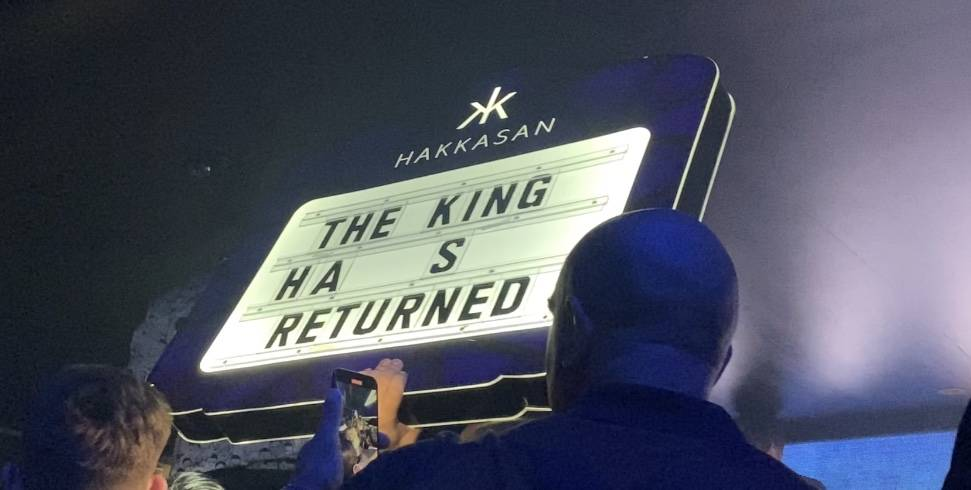 A sign welcoming Tyson Fury to his victory party is shown at Hakkasan Nightclub in Las Vegas on ...