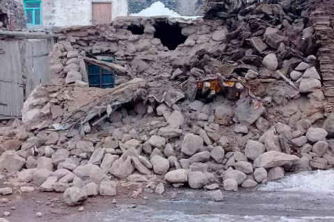 Houses are reduced to rubble after an earthquake hit villages in Baskale in Van province, Turke ...