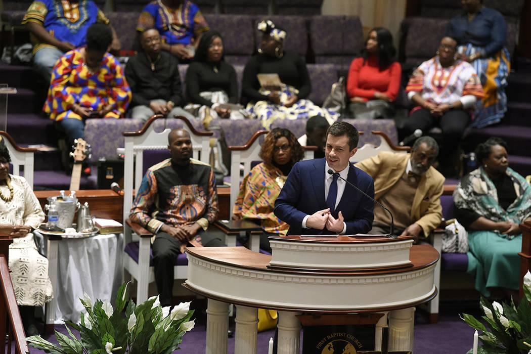 Democratic presidential candidate Pete Buttigieg speaks at First Baptist Church on Sunday, Feb. ...
