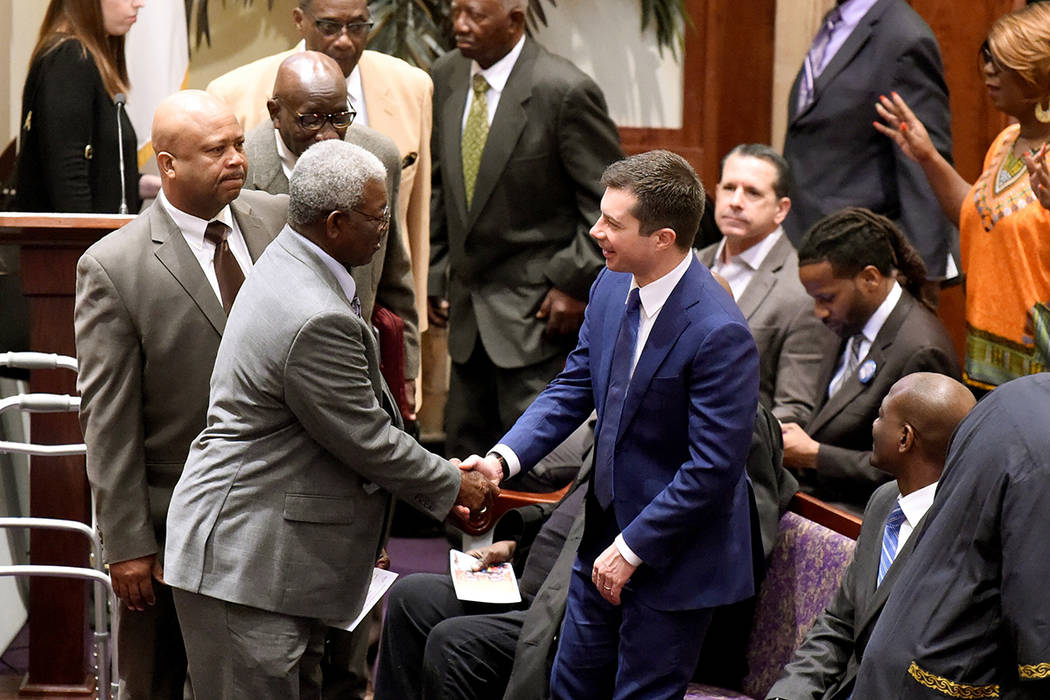 Democratic presidential candidate Pete Buttigieg arrives at First Baptist Church on Sunday, Feb ...