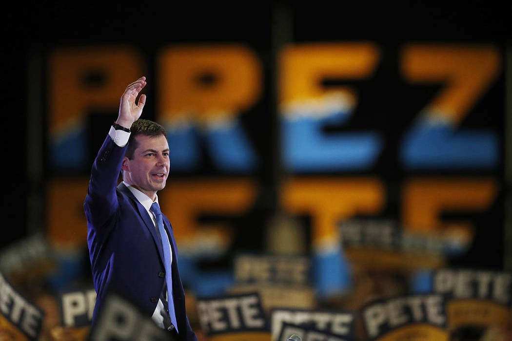 Democratic presidential candidate Pete Buttigieg speaks at a campaign rally late Saturday, Feb. ...