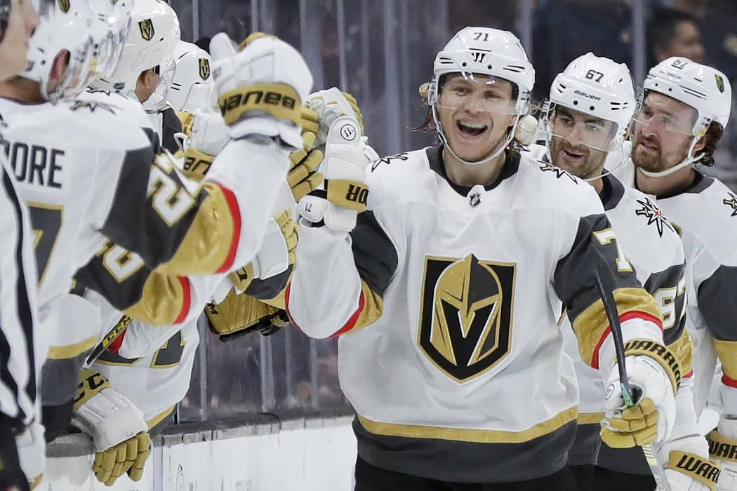 Vegas Golden Knights center William Karlsson celebrates after scoring during the second period ...