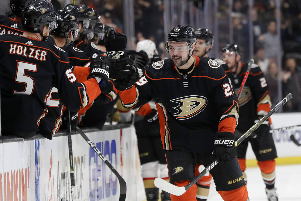 Anaheim Ducks center Devin Shore celebrates after scoring against the Vegas Golden Knights duri ...