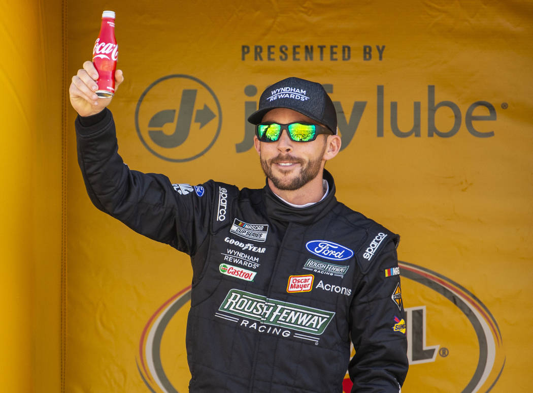 Ross Chastain (6) is introduced to the fans before the start of the Pennzoil 400 presented by J ...