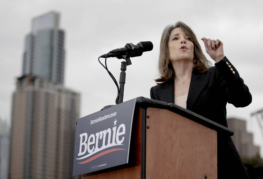 Marianne Williamson endorses Sen. Bernie Sanders during a campaign event on Sunday, Feb. 23, 20 ...