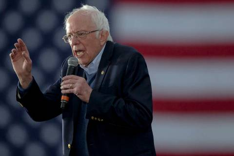 Sen. Bernie Sanders, I-Vt., speaks during a campaign event on Sunday, Feb. 23, 2020, in Austin, ...