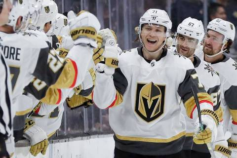 Vegas Golden Knights center William Karlsson celebrates after scoring during the second period ...