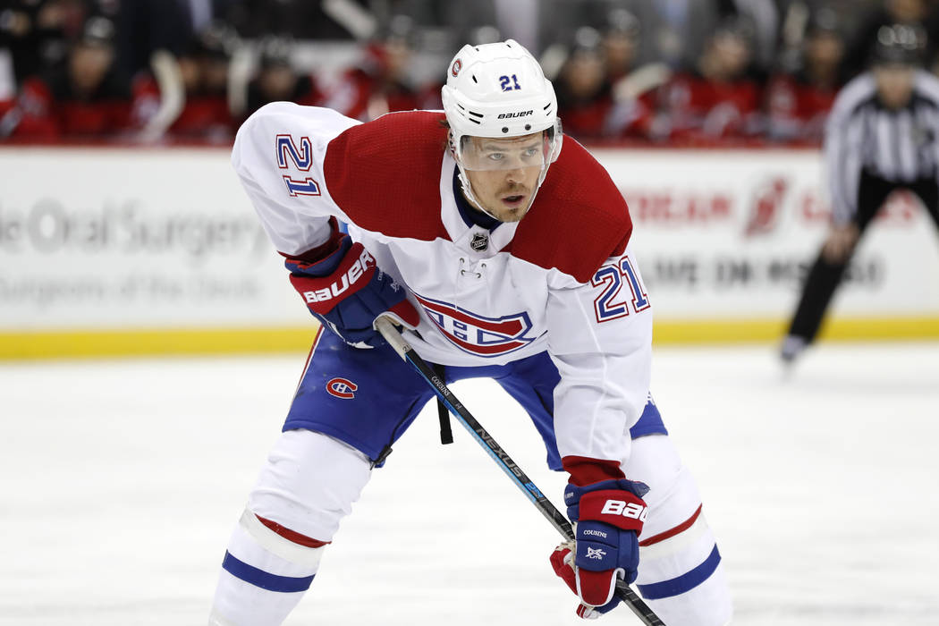 Montreal Canadiens center Nick Cousins (21) during the first period of an NHL hockey game, Tues ...