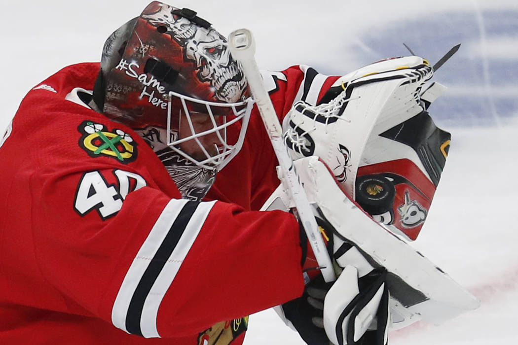 Chicago Blackhawks' Robin Lehner makes a save against the Toronto Maple Leafs during the second ...