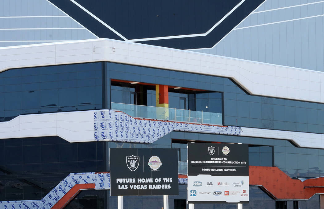 The Raiders' under-construction practice facility in Henderson photographed on Monday, Feb. 24, ...