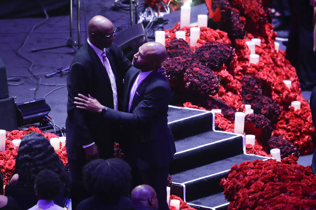 Joe Bryant and former Los Angeles Lakers' Derek Fisher arrive for a celebration of life for Kob ...