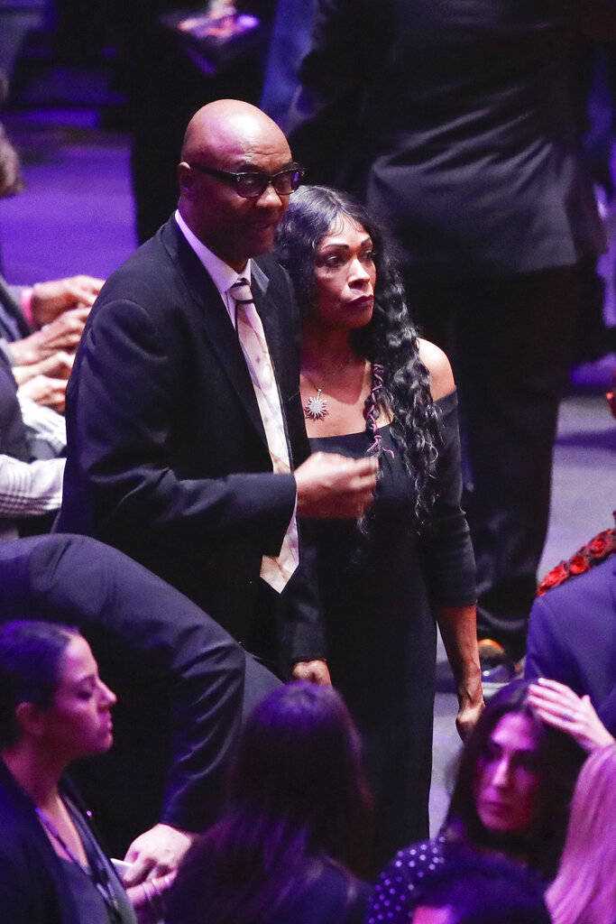Kobe Bryant's parents Joe and Pam Bryant arrive for a celebration of life for Kobe Bryant and h ...
