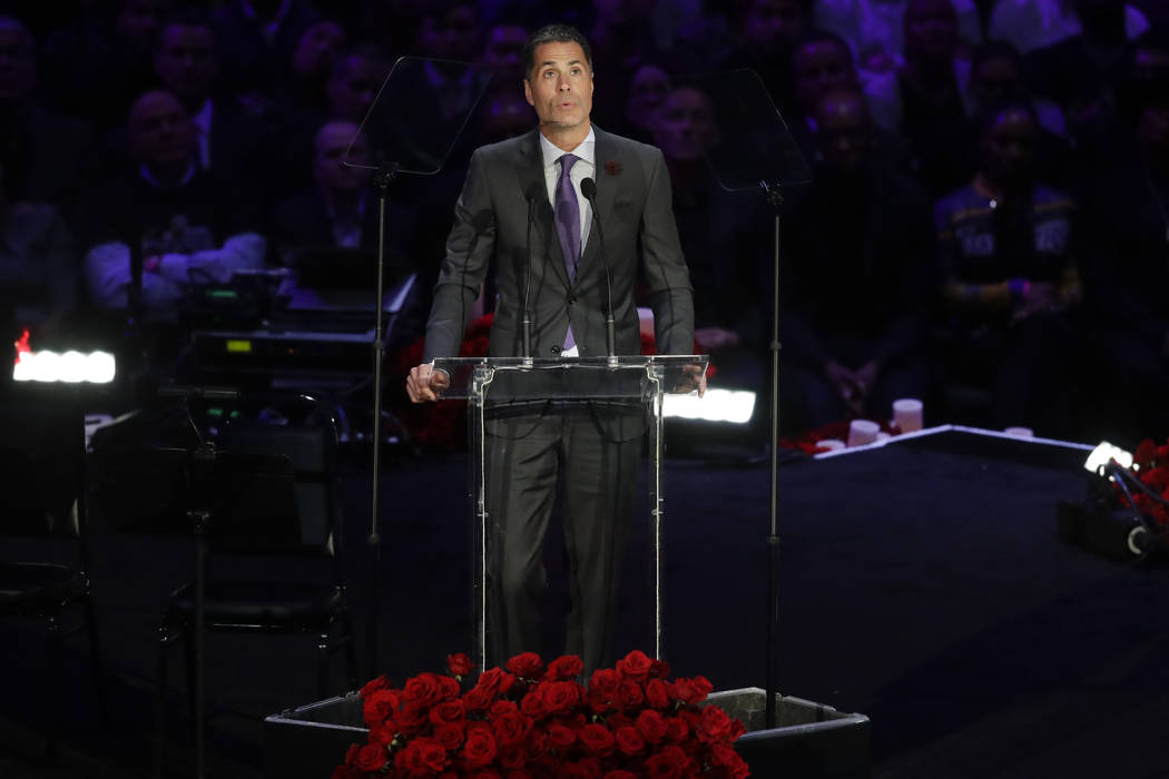 Los Angeles Lakers General Manager Rob Pelinka speaks during a celebration of life for Kobe Bry ...