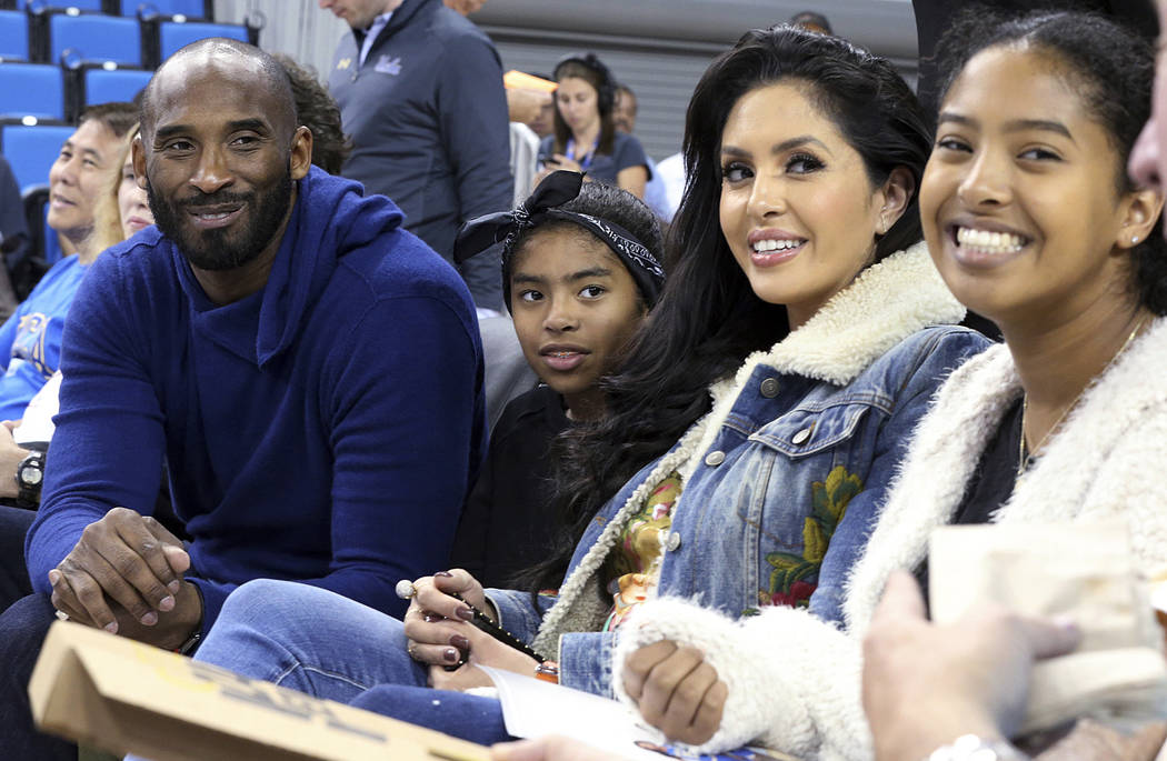 From left, Los Angeles Lakers legend Kobe Bryant, his daughter Gianna Maria-Onore Bryant, wife ...