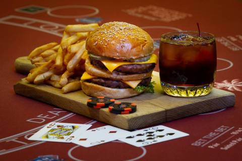 The Double Down Burger is offered in the Clubhouse Deli at Rampart Casino at the Resort at Summ ...
