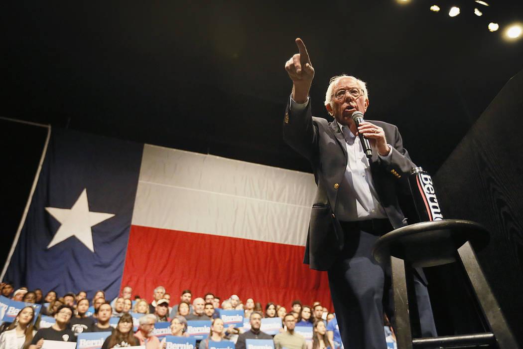 Democratic presidential candidate Sen. Bernie Sanders I-Vt. speaks during a rally in El Paso, T ...