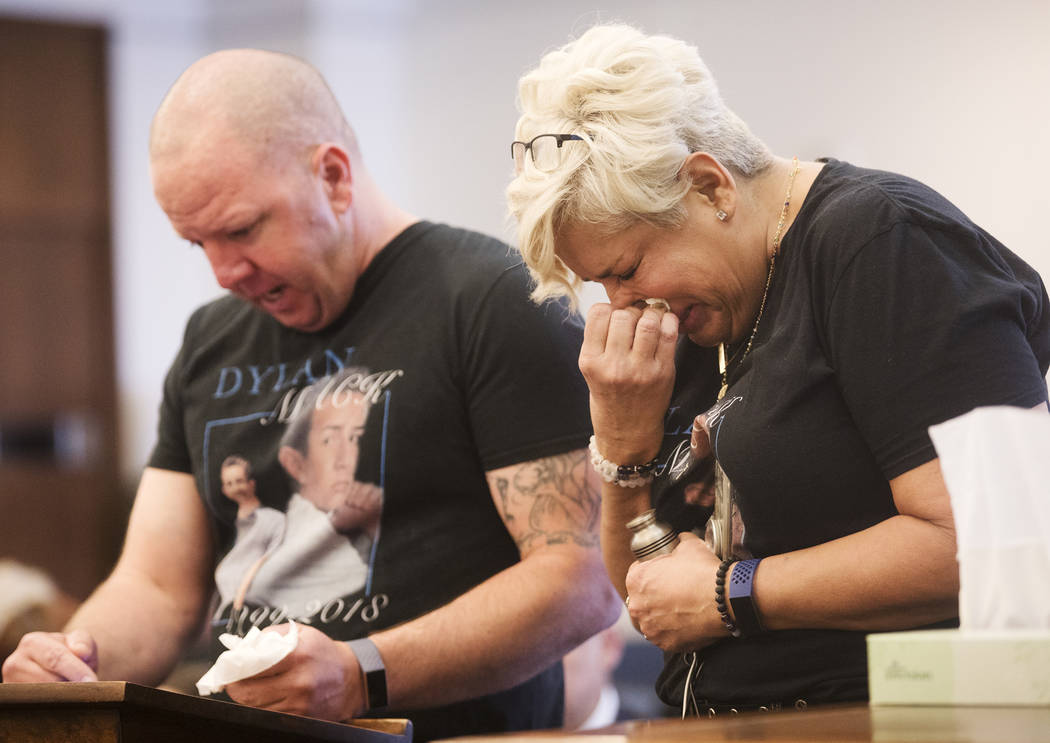 Renee Mack, mother of Dylan Mack, cries as her husband, Morgan, gives his victim impact stateme ...