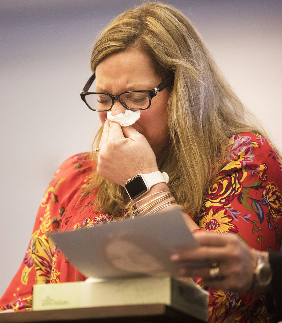 Rhonda Hawley, mother of Brooke Hawley, cries as she gives her victim impact statement Thursday ...