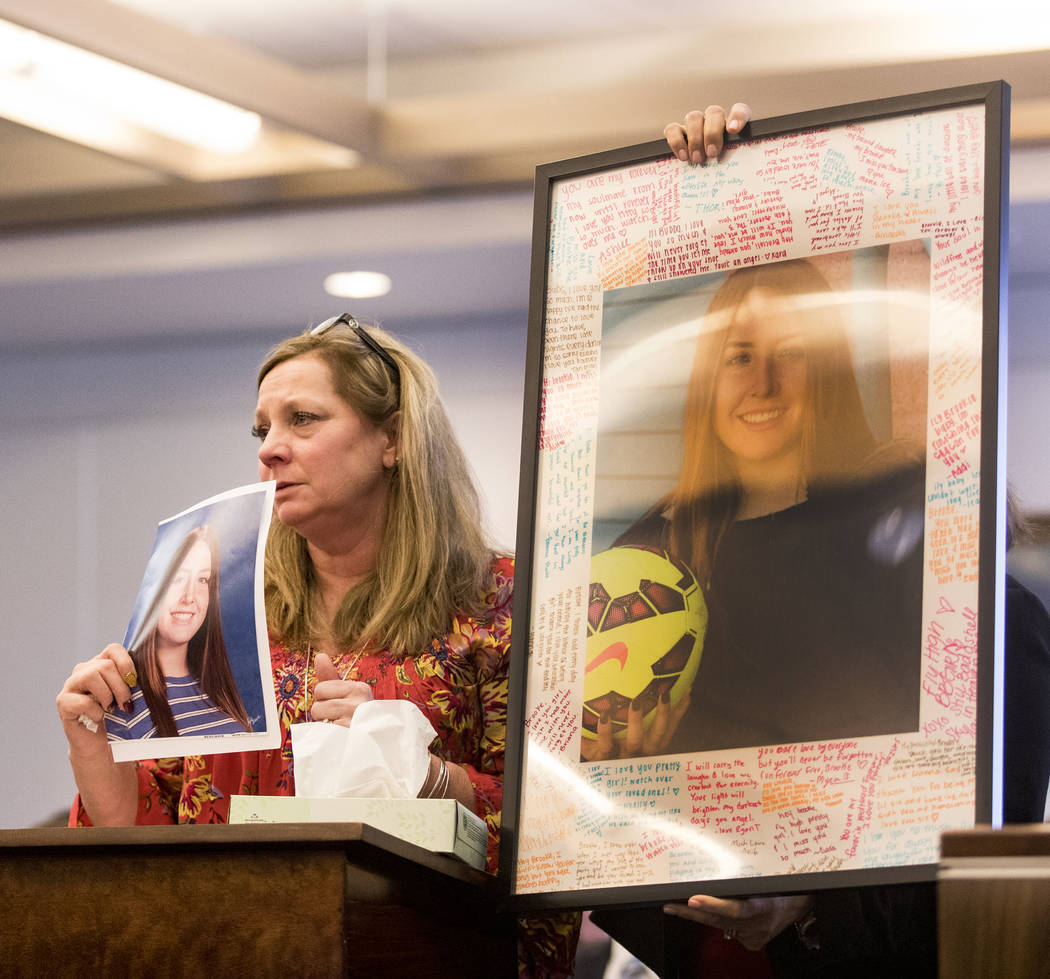 Rhonda Hawley, mother of Brooke Hawley, gives her victim impact statement, Thursday, Feb. 27, 2 ...