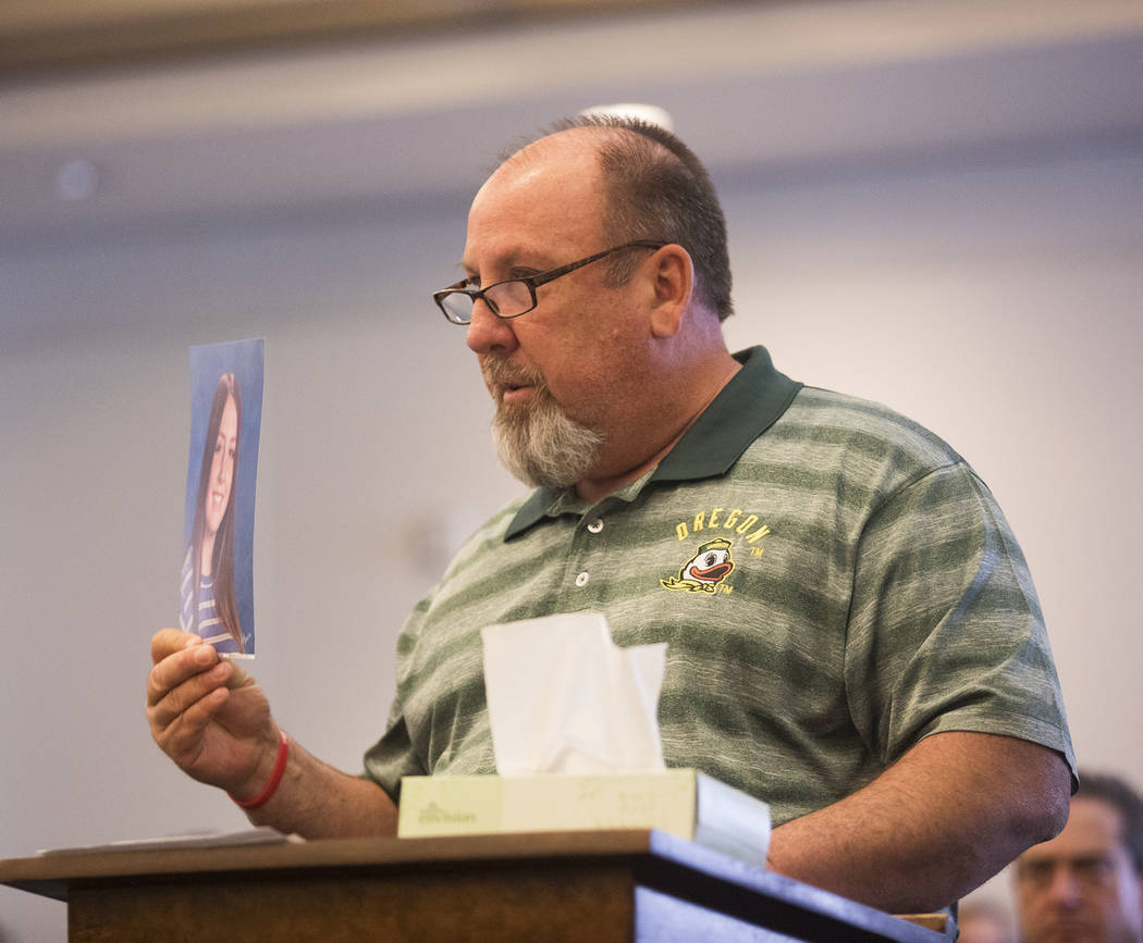 Aaron Hawley, father of Brooke Hawley, gives his victim impact statement, Thursday, Feb. 27, 20 ...