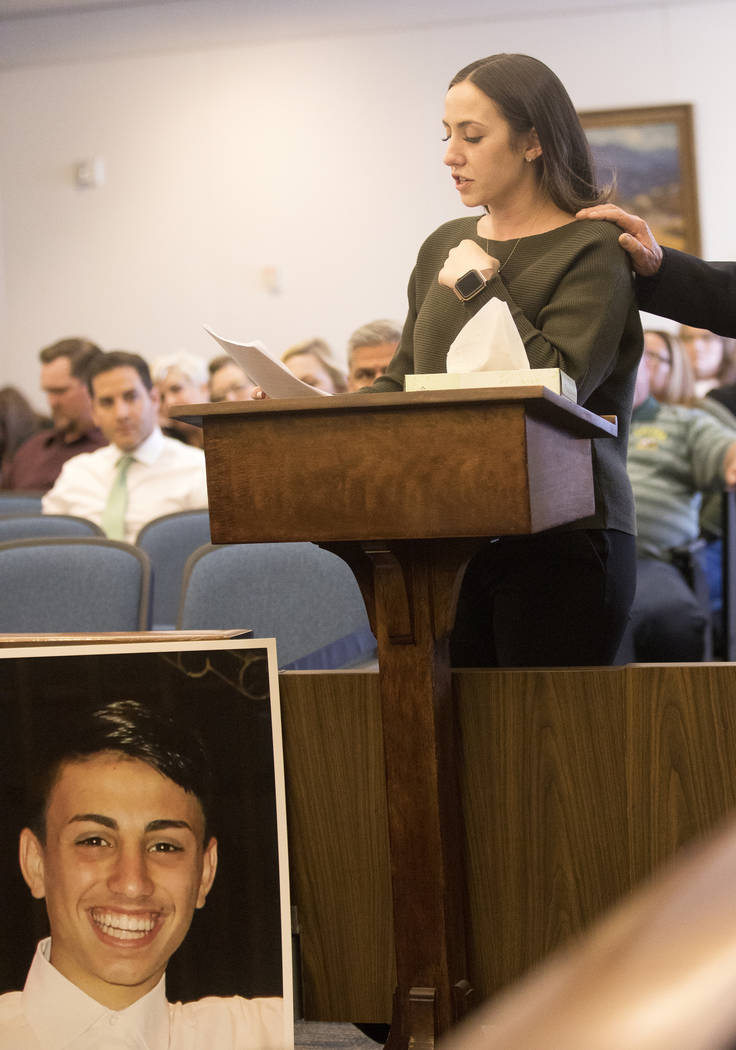 Allie Rossie, sister of A.J. Rossi, gives her victim impact statement, Thursday, Feb. 27, 2020, ...
