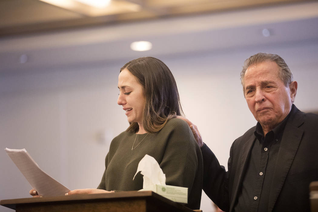 Allie Rossie, sister of A.J. Rossi, gives her victim impact statement next to her father Albert ...