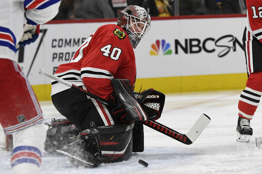 Chicago Blackhawks goalie Robin Lehner (40) of Sweden, makes a save during the second period of ...