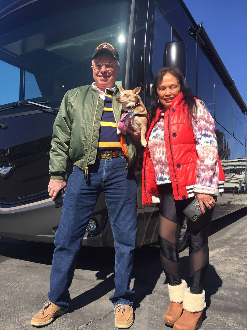 Chris and Rina Calhoon purchased a 2019 Fleetwood Pace Arrow recently from Findlay RV at 4530 B ...