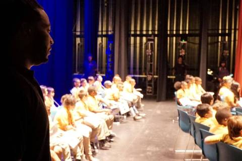 Devin Brooks looks at participants during last year's spelling bee. (Photo courtesy of Rev. Kel ...